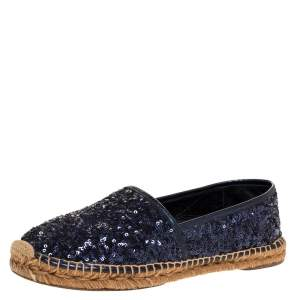 Dolce & Gabbana Metallic Blue Sequins and Leather Trim Espadrille Flats Size 41