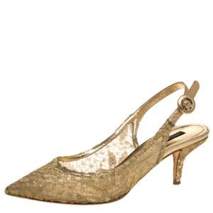 Dolce & Gabbana Gold Chantilly And Leather Slingback Sandals Size 39