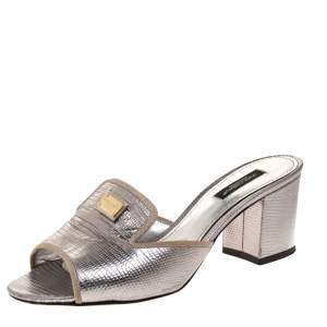 Dolce & Gabbana Silver Lizard Embossed Leather Block Heel Mules Size 37
