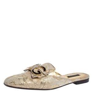 Dolce & Gabbana Gold Brocade Fabric Logo Slide Mules Size 39