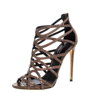Dolce & Gabbana Brown Python Strappy Sandals Size 39