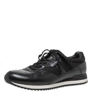 Dolce & Gabbana Black Leather And Mesh Low Top Sneakers Size 42