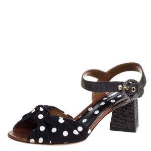 Dolce & Gabbana Black Raffia And Polka Dot Knotted Fabric Ankle Strap Sandals Size 37.5