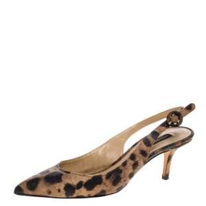 Dolce & Gabbana Brown/Black Leopard Print Textured Leather Slingback Sandals Size 40