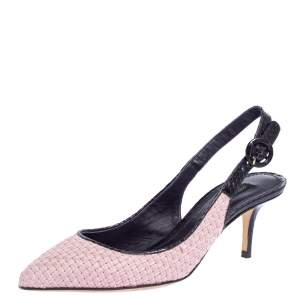 Dolce & Gabbana Pink/Purple Woven Raffia And Snake Print Leather Pointed Toe Slingback Sandals Size 38