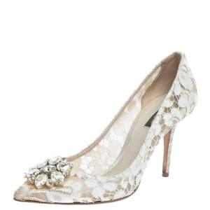 Dolce & Gabbana White Lace Bellucci Crystal Embellished Pumps Size 40