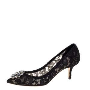 Dolce & Gabbana Black Lace Bellucci Crystal Embellished Pumps Size 39
