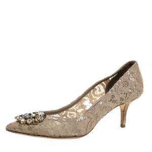 Dolce & Gabbana Beige Crystal Embellished Lace Bellucci Pointed Toe Pumps Size 40.5