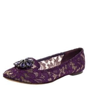Dolce & Gabbana Purple Lace Jeweled Embellishment Ballet Flats Size 39