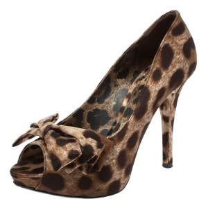 Dolce & Gabbana Brown Animal Print Satin Bow Peep Toe Platform Pumps Size 37.5