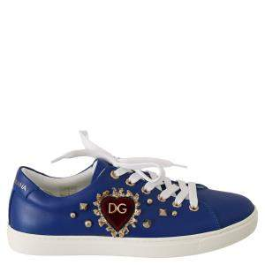 Dolce & Gabbana Blue/Red Leather Gold Heart Sneakers Size 35
