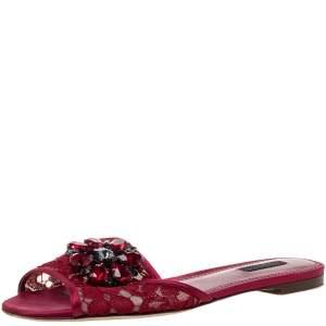 Dolce & Gabbana Red Lace Crystal Embellished Flat Slides Size 39