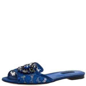 Dolce & Gabbana Blue Lace Crystal Embellished Flat Slides Size 37.5