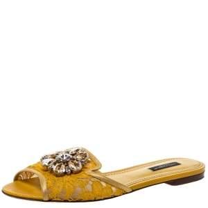 Dolce & Gabbana Yellow Lace Jeweled Embellishment Flat Slides Size 38