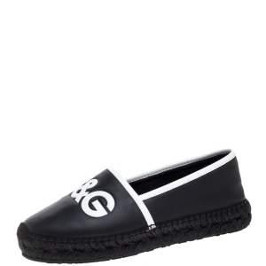 Dolce & Gabbana Black/White Leather Logo Embossed Slip On Espadrille Size 40