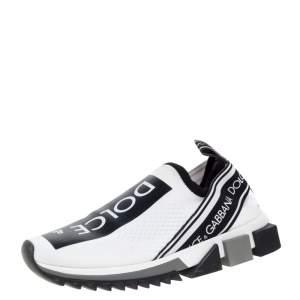 Dolce & Gabbana White/Black Stretch Fabric Logo Sorrento Slip On Sneakers Size 38.5