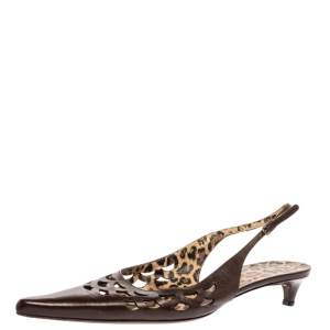 Dolce and Gabbana Dark Brown Leather Cut Out Pointed Toe Slingback Sandals Size 40.5
