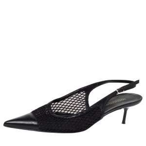 Dolce & Gabbana Black Mesh Slingback Pointed Toe Pumps Size 38