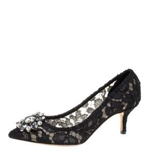 Dolce & Gabbana Black Lace Crystal Embellished Pointed Toe Pumps Size 36.5