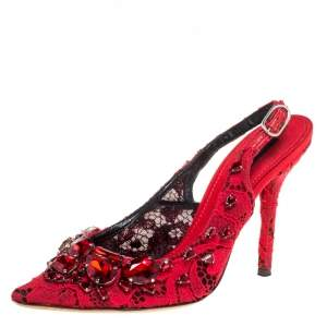 Dolce & Gabbana Red Lace Jewel Embellished Slingback Pointed Toe Pumps Size 38