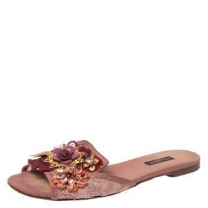 Dolce & Gabbana Pink Lace Sofia Crystal Embellished Flat Slide Sandals Size 38