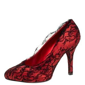 Dolce & Gabbana Red/Black Satin and Lace D'orsay Pumps Size 38