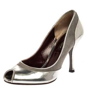 Dolce & Gabbana Silver Leather Peep Toe Pumps Size 35