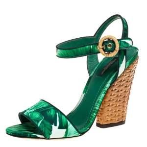 Dolce & Gabbana Green Leaf Print Satin Ankle Strap Sandals Size 38