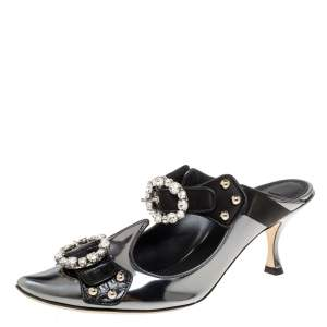 Dolce and Gabbana Metallic Grey/Black Leather Crystal Embellished Mules Size 39