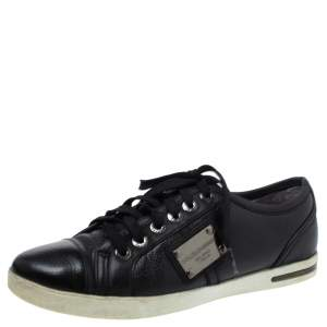 Dolce & Gabbana Black Leather Lace Low Top Sneakers Size 37