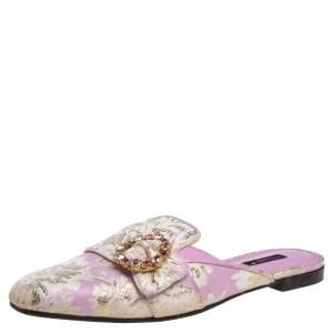 Dolce & Gabbana Pink/White Brocade Fabric Jackie Crystal Embellished Flat Mules Size 41