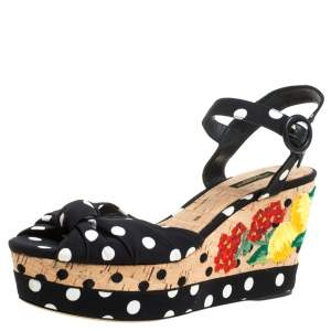 Dolce & Gabbana Multicolor Fabric And Leather Polka Dot Embroidered Knotted Bow Wedge Sandals Size 40