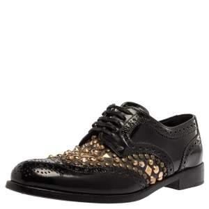 Dolce & Gabbana Black Brogue Leather Studded Embellished Lace Oxfords Size 39