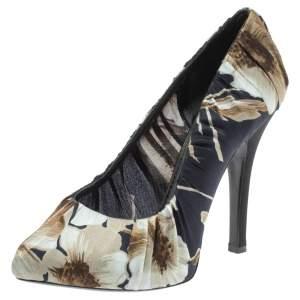 Dolce & Gabbana Floral Print Pleated Satin Platform Pumps Size 37.5