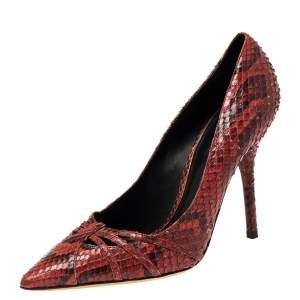 Dolce & Gabbana Red Python Pointed Toe Pumps Size 38