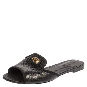 Dolce and Gabbana Black Lizard Embossed Leather Sofia Slides Size 39