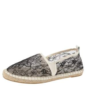 Dolce & Gabbana Black/White Lace Espadrille Flats Size 38