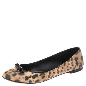 Dolce & Gabbana Brown Animal Print Canvas Bow Detail Ballet Flat Size 39