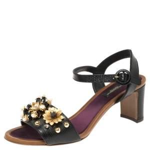 Dolce & Gabbana Lizard Embossed Leather Embellished Ankle Strap Sandals Size 39
