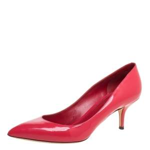 Dolce & Gabbana Peachy Pink Patent Leather Pointed Toe Pumps Size 41