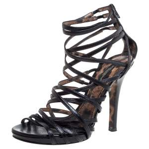 Dolce & Gabbana Black Leather Strappy Sandal Size 37