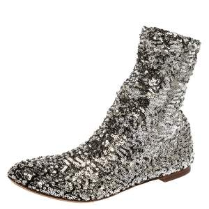 Dolce & Gabbana Sliver Sequin Stretch Flat Ankle Booties Size 36