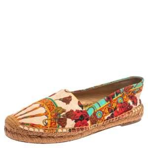Dolce & Gabbana Multicolor Printed Canvas Espadrille Flats Size 36