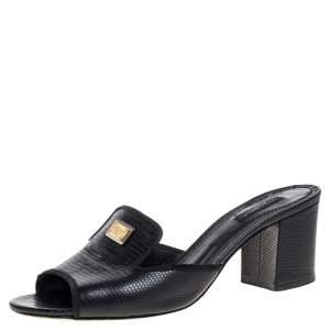 Dolce & Gabbana Black Lizard Embossed Leather Slide Sandals Size 40