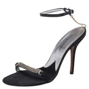 Dolce & Gabbana Black Satin Embellished Ankle Strap Sandals Size 36.5