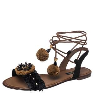 Dolce and Gabbana Black/Brown Suede and Raffia Flat Sandals Size 37.5
