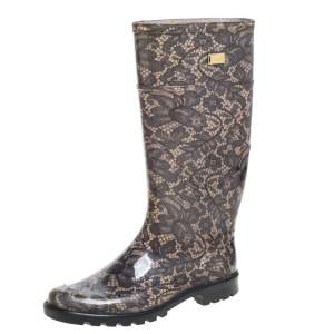 Dolce & Gabbana Grey/Beige Jelly Printed Lace Round Toe Rain Boots Size 37