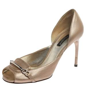 Dolce & Gabbana Metallic Beige Leather Peep Toe D'Orsay Pumps Size 37.5