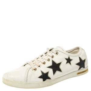 Dolce & Gabbana White/Black Leather Star Cut Out Low Top Sneakers Size 39