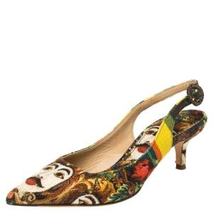Dolce & Gabbana Multicolor Print Canvas Slingback Pointed Toe Pumps Size 38